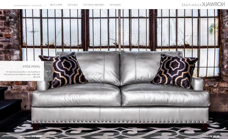Most Current Norwalk Sofa And Chairs Regarding Norwalk Furniture #sofa Silver Leather Covering With Nail Heads (View 8 of 20)