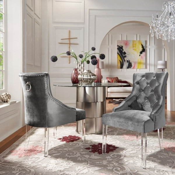 Most Current Shop Gina Velvet Tufted Dining Chair (Set Of 2) With Acrylic Legs Regarding Gina Blue Leather Sofa Chairs (View 18 of 20)