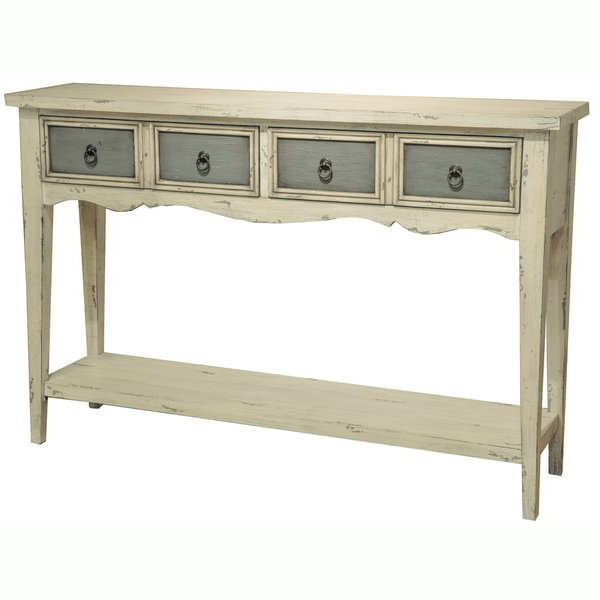 Most Current Shop Hand Painted Distressed Antique White Finish Accent Console Within Antique White Distressed Console Tables (View 2 of 20)