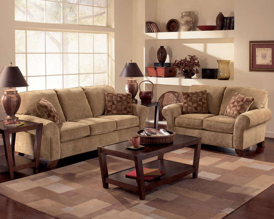 Most Current Townhouse Tawny Sofa, Loveseat And Chair Set (View 11 of 20)