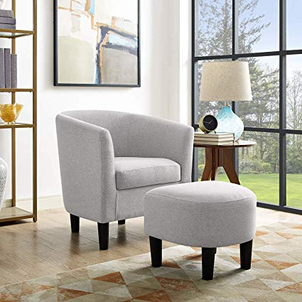 Most Popular Amazon: Dazone Modern Accent Chair Upholstered Comfy Arm Chair Pertaining To Sofa Chair With Ottoman (View 10 of 20)