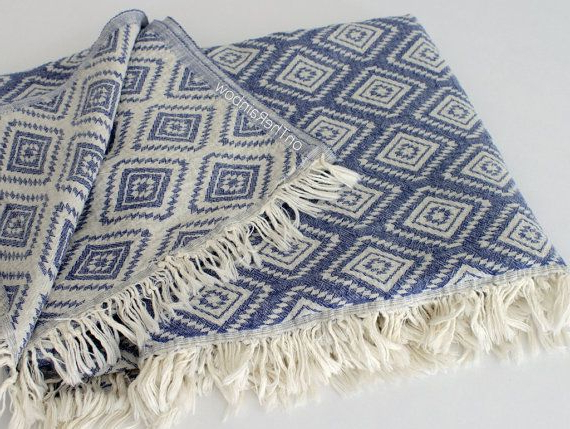 Most Popular Cotton Throw Blanket In Denim Blue Diamond Pattern (View 17 of 20)