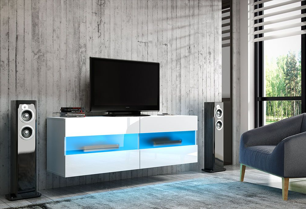 Most Popular White Gloss Wall Mounted 100 Cm Tv Stand Rita Hanging Cabinet Unit For 100Cm Tv Stands (View 11 of 20)