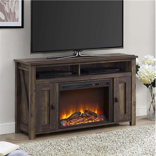 Most Recent 50 Inch Tv Stand In Medium Brown Wood With 1,500 Watt Electric Inside 50 Inch Fireplace Tv Stands (View 4 of 20)