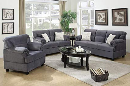 Most Recent Amazon: 3Pcs Modern Grey Microfiber Sofa Loveseat Chair Set With In Sofa Loveseat And Chair Set (View 10 of 20)