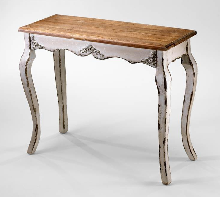 Most Recent Antique White Distressed Console Tables Intended For Cotswold Antique White Wash Wood Console Table (Gallery 6 of 20)
