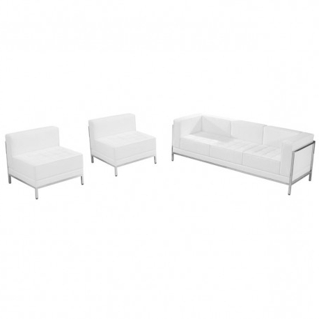 Most Recent Gwen Sofa Chairs In Chancellor Gwen White Leather Sofa & Chair Set 13, 3pcs (View 18 of 20)