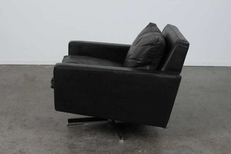 Most Recent Leather Black Swivel Chairs With Mid Century Modern Black Leather Swivel Chair At 1Stdibs (View 14 of 20)