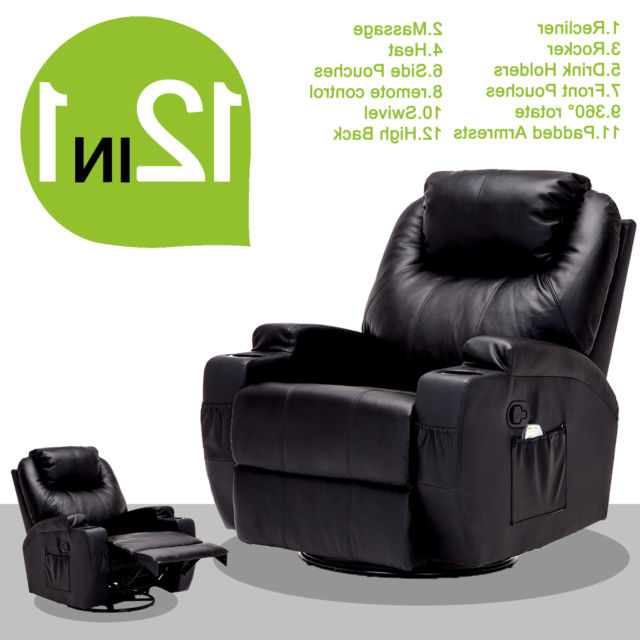 Most Recent Massage Recliner Sofa Chair Ergonomic Lounge Swivel Heated W/control Inside Sofa Chair Recliner (View 3 of 20)