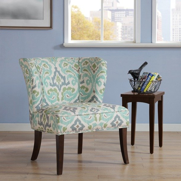 Most Recent Shop Madison Park Sheldon Blue/ Green Printed Armless Accent Chair Pertaining To Sheldon Oversized Sofa Chairs (View 11 of 18)