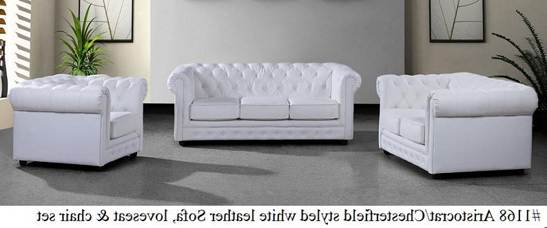 Most Recent Sofa Loveseat And Chair Set In Gorgeous Aristocrat Styled 3Pc White Pu Leather Sofa, Loveseat And (View 11 of 20)