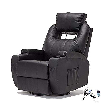 Most Recently Released Amazon: Suncoo Massage Recliner Leather Sofa Chair Ergonomic Inside Swivel Tobacco Leather Chairs (View 15 of 20)