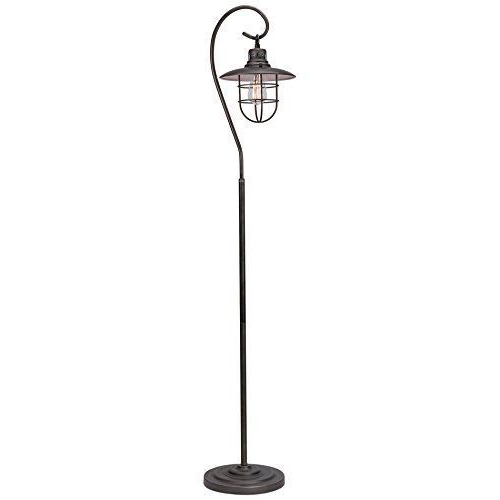 "Most Recently Released Bailey Linen Flare Arm Wing Skirted Swivel Gliders Within Kira Home Lantern 58"" Industrial Floor Lamp + Hanging Shade Design + (View 19 of 20)"