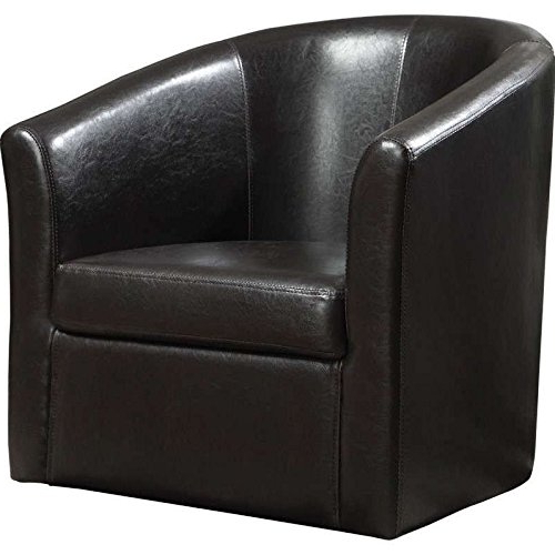 Most Recently Released Leather Black Swivel Chairs With Regard To Amazon: Vinyl Upholstery Accent Swivel Chair Dark Brown: Home (View 15 of 20)