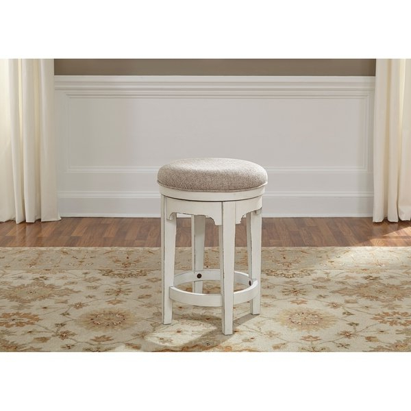 Most Recently Released Shop Magnolia Manor Antique White Console Swivel Stool – Free With Manor Grey Swivel Chairs (View 11 of 20)