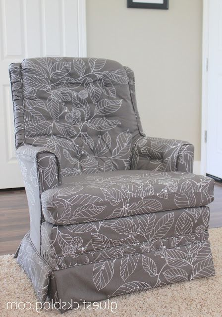 Most Up To Date Katrina Blue Swivel Glider Chairs Pertaining To How To Reupholster A Swivel Rocker With Stepstep Photos (View 9 of 20)