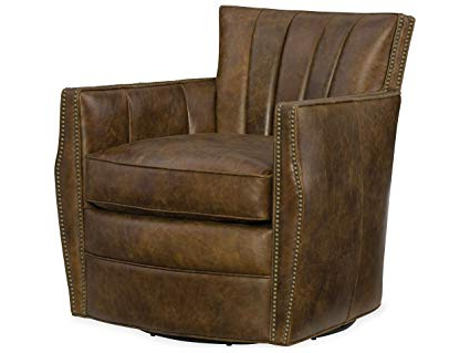 Most Up To Date Swivel Tobacco Leather Chairs Intended For Amazon: Hooker Furniture Carson Leather Swivel Club Chair In (View 4 of 20)