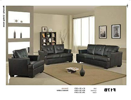 Newest Amazon: 3 Pcs Black Classic Leather Sofa, Loveseat, And Chair Throughout Sofa Loveseat And Chair Set (View 12 of 20)