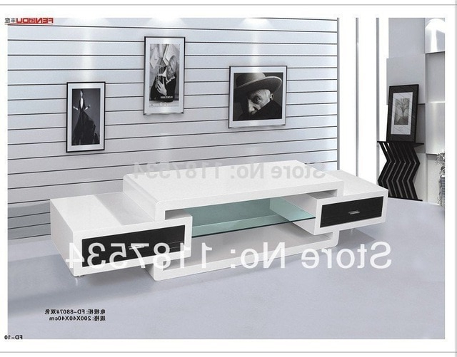Newest Fd8807 Living Room Furniture White High Gloss Mdf Tv Stand Tv Bench Pertaining To Bench Tv Stands (View 16 of 20)