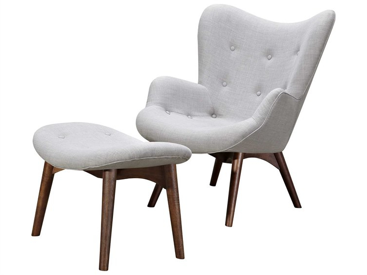 Nyekoncept Aiden Glacier White Accent Chair & Ottoman With Walnut Throughout Fashionable Aidan Ii Swivel Accent Chairs (View 17 of 20)