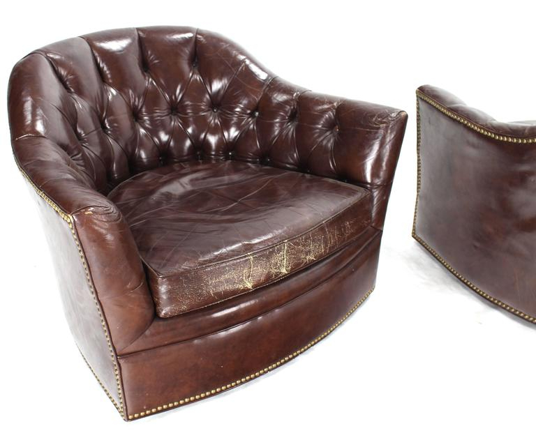 Pair Of Brown Shiny Leather Swivel Chairs Tufted Chesterfield Backs Throughout Trendy Chocolate Brown Leather Tufted Swivel Chairs (View 20 of 20)