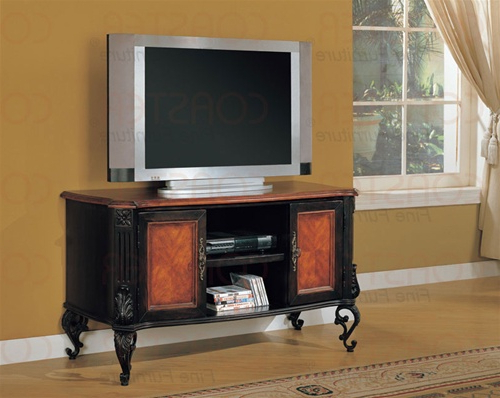 Popular Antique Style Tv Stands Regarding Traditional/antique Style Two Tone Black And Cherry Finish Tv Stand (View 16 of 20)