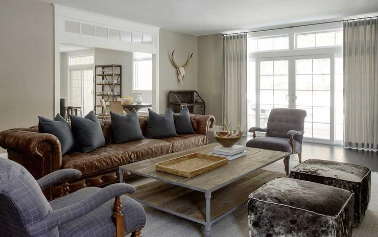 Popular Chesterfield Sofa And Chairs With Brown Leather Chesterfield Sofa With Dark Grey Pillows – Country (View 14 of 20)