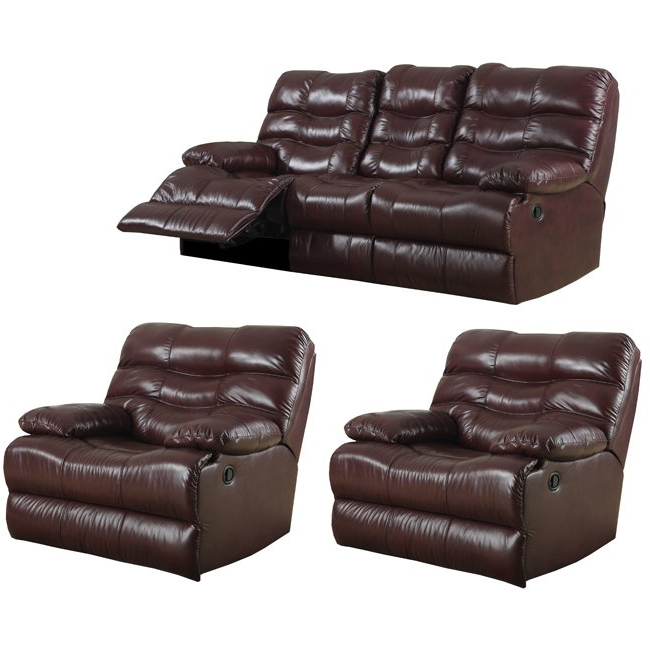 Popular Shop Cameron Burgundy Leather Reclining Sofa And Two Recliner/glider Within Cameron Sofa Chairs (View 15 of 20)