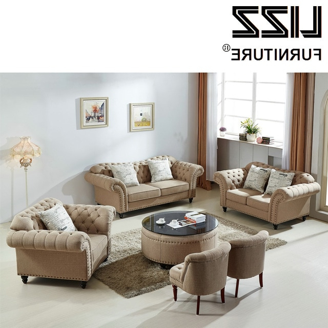 Popular Sofa Loveseat And Chair Set Pertaining To Classic Sofa Loveseat Chair Fabric Sectional Sofa Set Living Room (View 14 of 20)