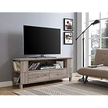 "Preferred Abbott Driftwood 60 Inch Tv Stands Pertaining To Amazon: Walker Edison Furniture 60"" Wood Console Media Tv Stand (View 17 of 20)"