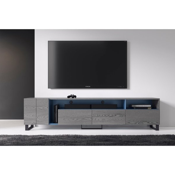 Preferred B Modern Tv Stands Intended For Shop B Modern Calligrapher Grey Oak/blue Tv Stand – Free Shipping (View 18 of 20)