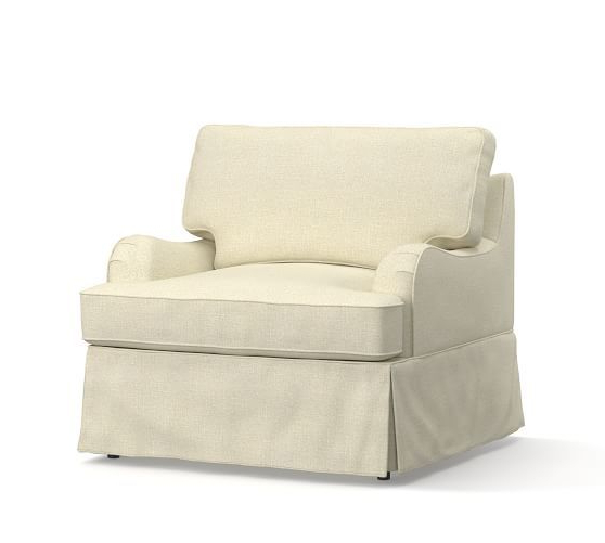 Preferred Bailey Linen Flare Arm Wing Skirted Swivel Gliders Pertaining To Soma Hawthorne English Arm Slipcovered Armchair (View 13 of 20)