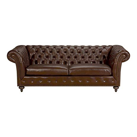 "Preferred Mansfield Cocoa Leather Sofa Chairs With Regard To Amazon: Ethan Allen Mansfield Leather Sofa, 89"" Sofa, Omni Brown (View 17 of 20)"