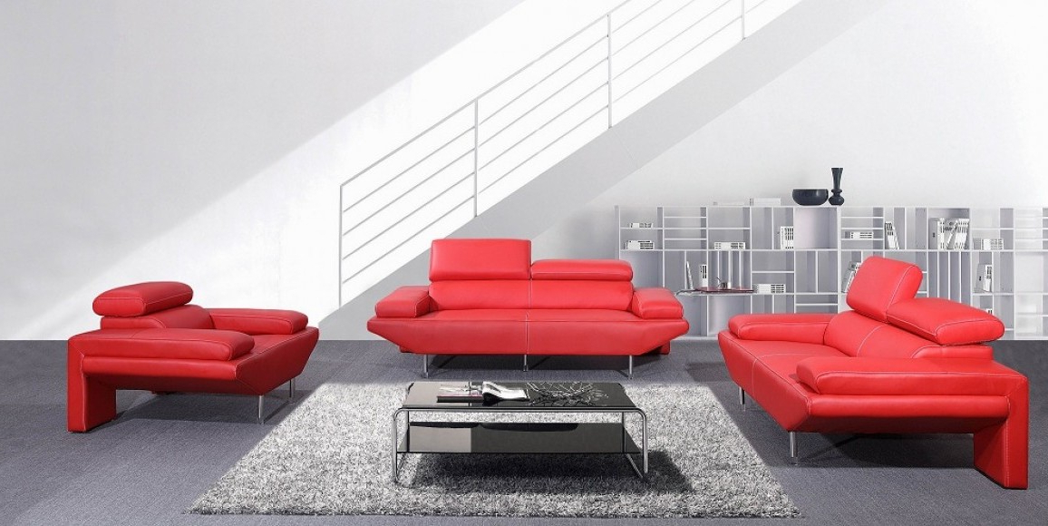 Preferred Minimalist Red Sofa With Italian Style Has Glossy Look With Chrome Throughout Red Sofas And Chairs (View 14 of 20)