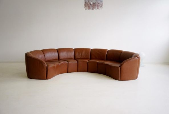 Preferred Vintage Curved Leather Sofawalter Knoll, 1960S For Sale At Pamono Intended For Walter Leather Sofa Chairs (View 12 of 20)