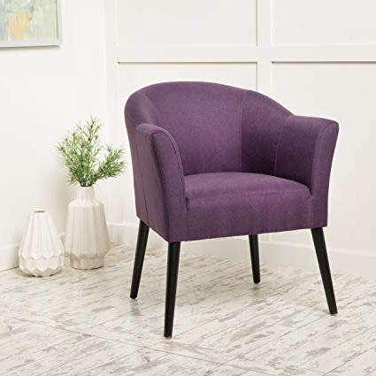 Recent Amazon: Charmaine Plum Fabric Arm Chair: Kitchen & Dining In Cosette Leather Sofa Chairs (View 20 of 20)