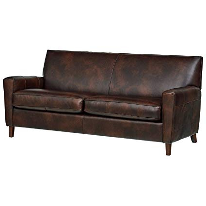 "Recent Amazon: Rivet Lawson Modern Angled Leather Sofa, 78""w, Driftwood Intended For Andrew Leather Sofa Chairs (View 14 of 20)"