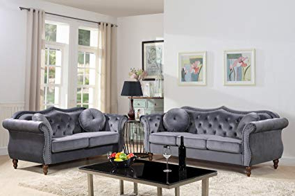 Recent Chesterfield Sofa And Chairs Regarding Amazon: Container Furniture Direct S5366 2pc Carbon Velvet (View 9 of 20)