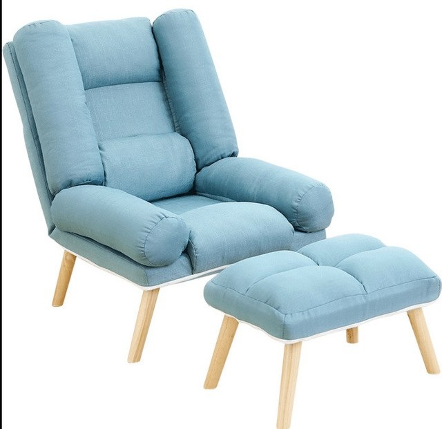 Recliner Backrest Chaise Chair With Stool Adjustable Floor Sofa In Trendy Sofa Chair With Ottoman (View 19 of 20)