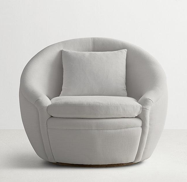 Round Gray Velvet Swivel Chair Regarding Newest Grey Swivel Chairs (Gallery 14 of 20)