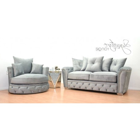 Royale French Velvet 3 Seater Sofa & Swivel Chair In Silver In Best And Newest Sofa With Swivel Chair (View 14 of 20)
