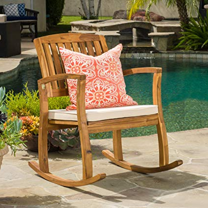 Sadie Ii Swivel Accent Chairs With Regard To Most Popular Amazon : Sadie Outdoor Acacia Wood Rocking Chair With Cushion (View 9 of 20)