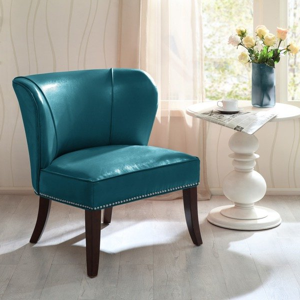 Sheldon Oversized Sofa Chairs With Newest Shop Madison Park Sheldon Blue Concave Back Armless Chair – Free (View 4 of 18)