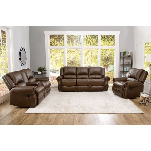 Shop Abbyson Calabasas Mesa Brown Leather 3 Piece Reclining Living For Most Popular Mesa Foam Oversized Sofa Chairs (View 7 of 20)