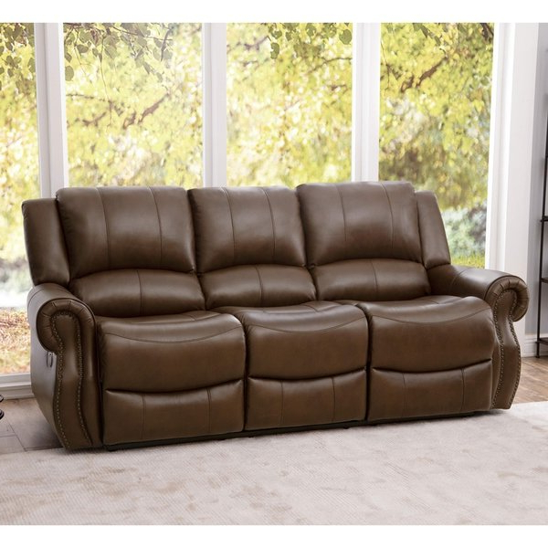Shop Abbyson Calabasas Mesa Brown Leather Reclining Sofa – On Sale Within Favorite Mesa Foam Oversized Sofa Chairs (View 5 of 20)