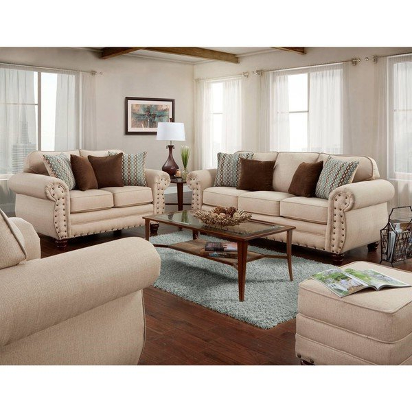 Shop American Furniture Classics Abington Sand Four Piece Set Regarding Recent Sofa Loveseat And Chair Set (View 16 of 20)