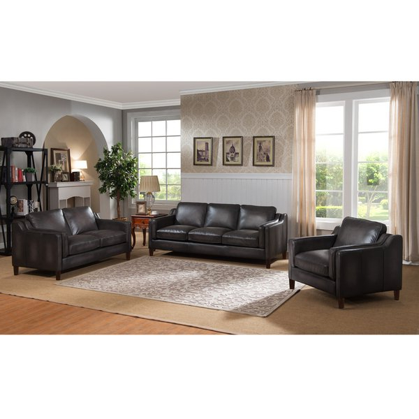 Shop Ames Premium Hand Rubbed Grey Top Grain Leather Sofa, Loveseat In Recent Ames Arm Sofa Chairs (View 14 of 20)