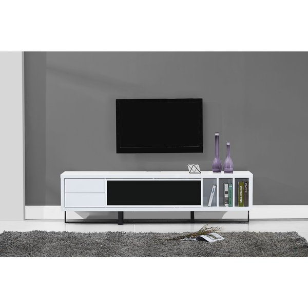 Shop B Modern Innovator White High Gloss/black Modern Ir Tv Stand Intended For 2017 B Modern Tv Stands (View 19 of 20)