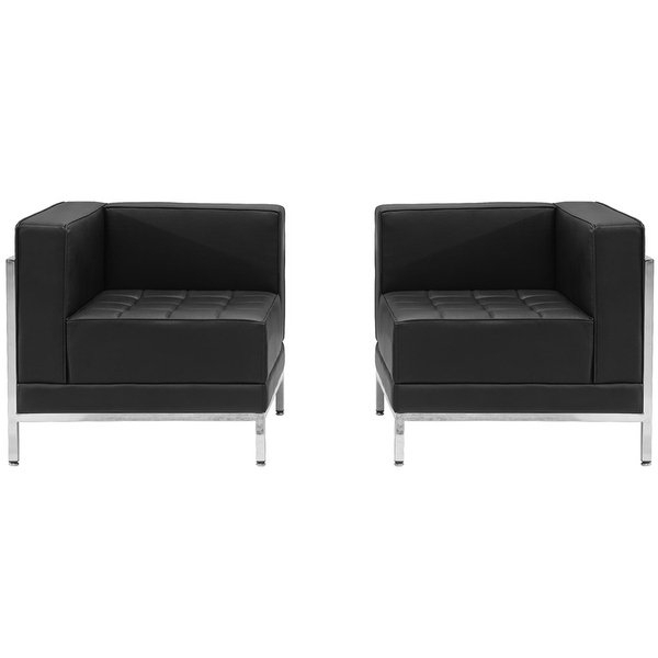 """Shop Chancellor """"gwen"""" Black Leather Corner Chair Set 10, 2pcs Inside Well Known Gwen Sofa Chairs (View 6 of 20)"""