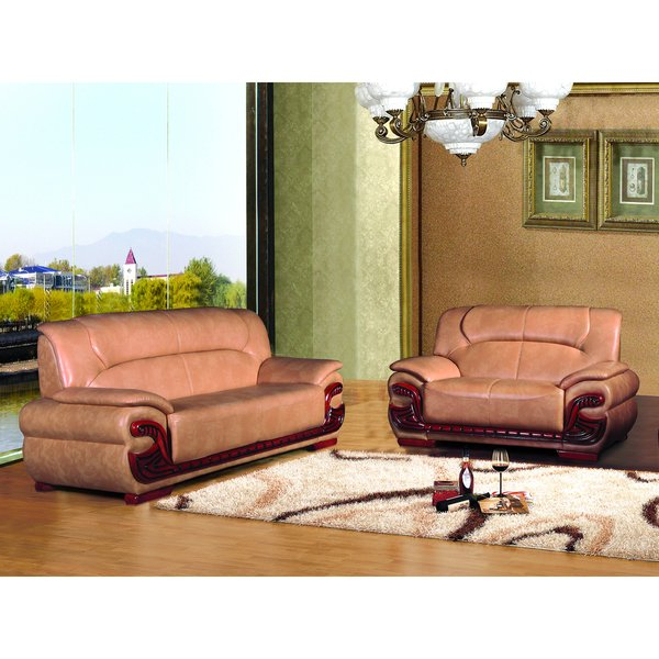 Shop Harper 2 Piece Peach Transitional Bonded Leather Sofa Set For Current Harper Down Oversized Sofa Chairs (View 11 of 20)